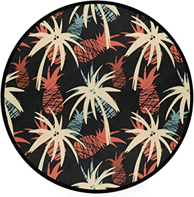 ZZKKO Palm Tree Pineapple Round Area Rug Non-Slip Living Room Bedroom Children Playroom Carpet Floor Mat Home Decoration 3 x 3 Feet