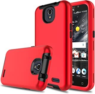 DONWELL Compatible with ZTE Maven 3 Case Hybrid Three Layer Shockproof Protective Armor Cell Phone Case Cover Compatible with ZTE Overture 3/ZTE Prestige 2/ZTE Z835/ZTE N9136 (Red)