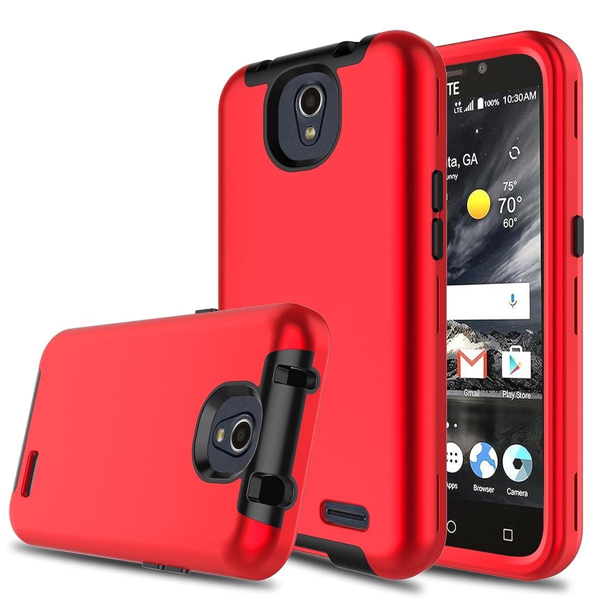Innens Compatible with ZTE Maven 3 Case, ZTE Z835 Case, ZTE Prestige 2 Case, 3-in-1 [TPU + Dual Layer PC] Shockproof Rugged Protective Case Compatible with ZTE Overture 3/Prelude Plus (Red)