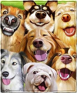 "Dawhud Direct Super Soft Full/Queen Size Fleece Blanket, 75"" x 90"", Polyester & Polyester Blend, Dogs Selfie, 75 x 90"