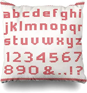 Ahawoso Throw Pillow Cover Alphabet Red Letter Cross Stitch Numbers Text Needlework Lowercase Capital Design Fancywork Home Decor Pillowcase Square Size 18