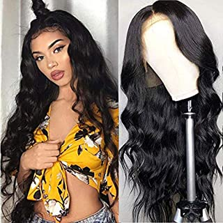 URALL Hair Brazilian body wave Lace Front wigs human hair 150% Density Unprocessed Virgin human hair wigs for black women Pre Plucked Natural Black (20inch)