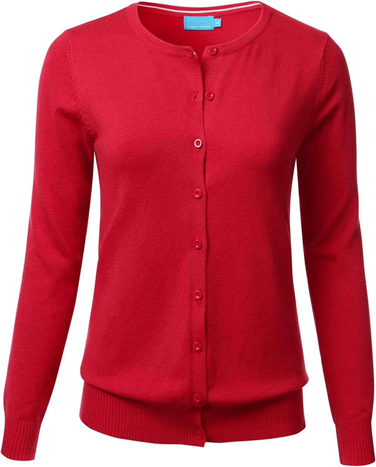 Women's Button Down Crew Neck Long Sleeve Soft Knit Cardigan Sweater RED L
