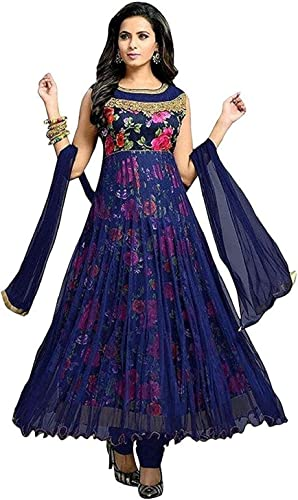Women S Bangalory Silk Printed And Net Anarkali Gown Free Size