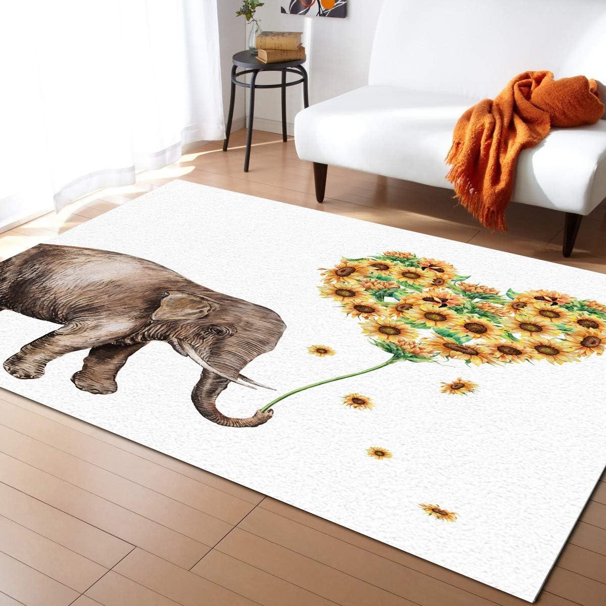ARTSHOWING Elephant Rectangular Area Rug 2' x Tucson Mall Indoor Large a 3' Ranking TOP6