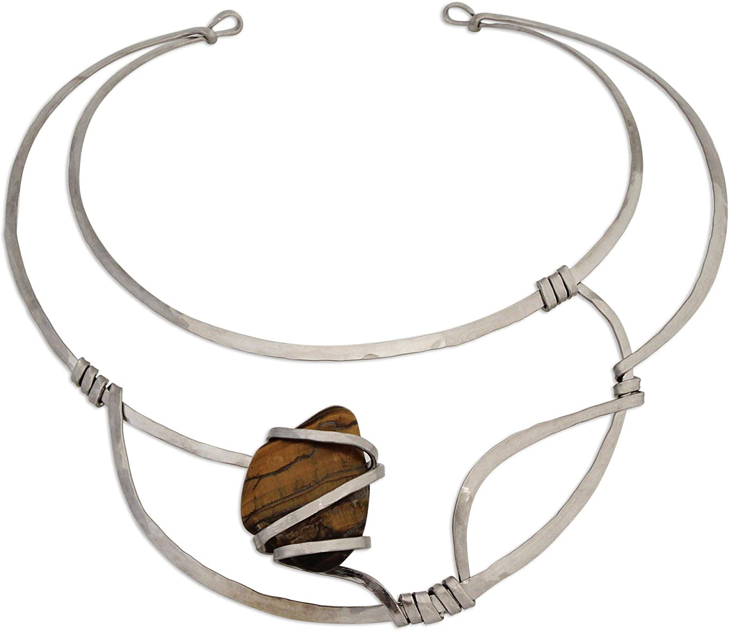 NOVICA Tiger's Eye Stainless Steel Collar Necklace, 13.75