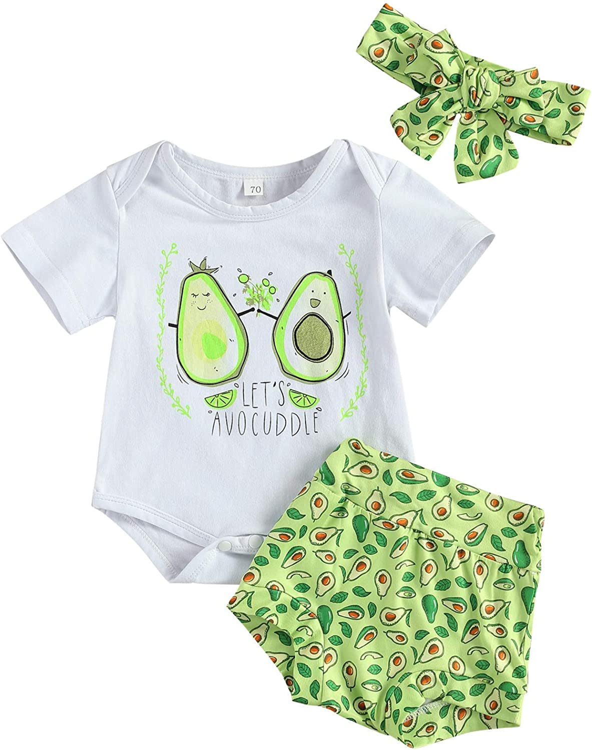 Infant Baby Girl Summer Clothes Shorts Set Newborn Short Sleeve Romper Bodysuit Letter Printed Top+Headband 3 Pcs Outfits