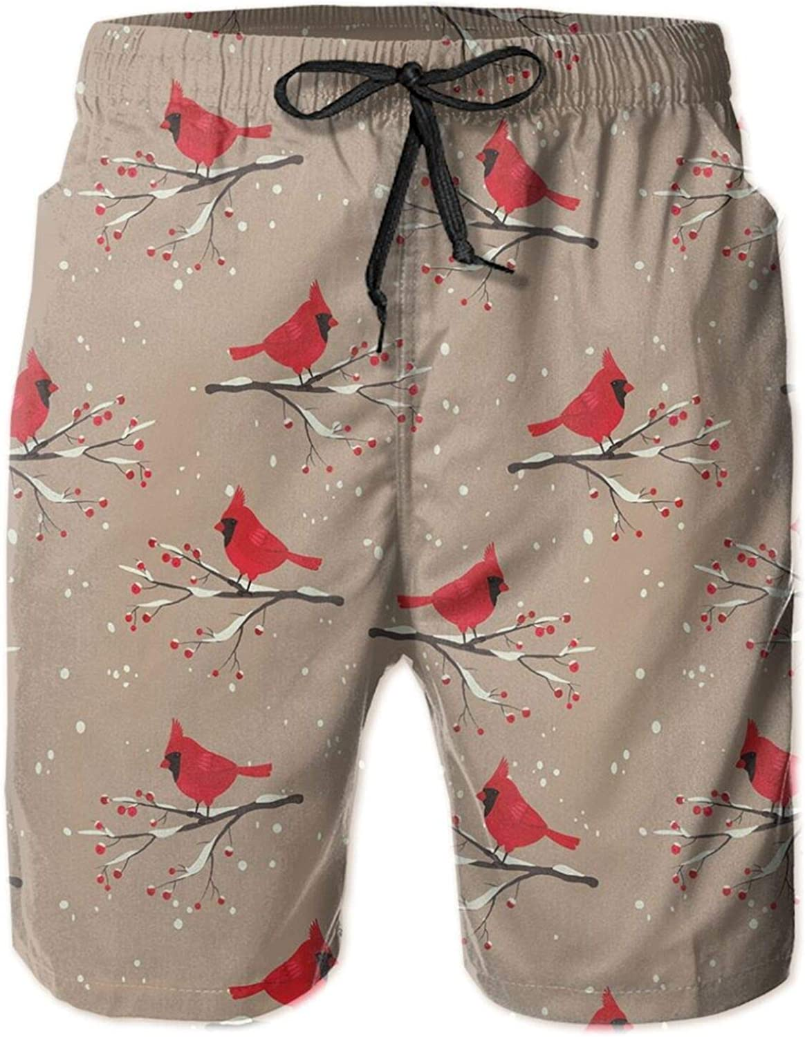 Cardinal Bird Silhouettes On Snowy Berry Branches On Abstract Background Drawstring Waist Beach Shorts for Men Swim Trucks Board Shorts with Mesh Lining,M
