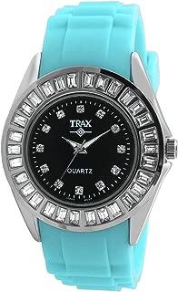 Trax TR3925-BTQ Women's Rox Turquoise Rubber Black Dial Crystal Bezel Watch