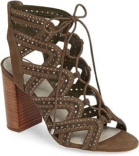 Kayley Grasshoper Olive Suede Caged Studded Lace up Block Heel Open Toe Sandal