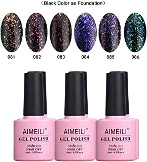 AIMEILI Soak Off UV LED Galaxy Paranoid Range Clear Glitter Gel Nail Polish Multicolour/Mix Colour/Combo Colour Set Of 6pcs X 10ml - Kit 18