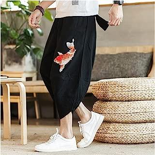 Mens Beach Pants Male Casual Calf Length Pants Man Carp Embroidery Baggy Loose Trousers