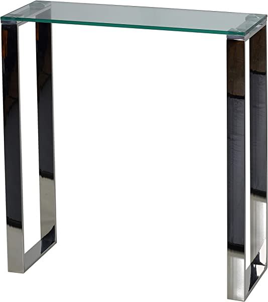 Cortesi Home CH AT656924 Forli Small Entry Way Console Table Contemporary Glass And Stainless Steel Finish 28 In Wide Accent