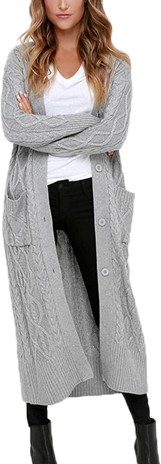 Women's Warm Cable Knit Long Cardigans Tops w Daily Max 78% OFF bargain sale Open Front Sweater