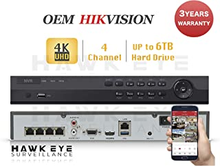 4CH IP Network Video Recorder - 4 Built in PoE Port Up to 8MP Resolution Recording Compatible with DS-7604NI-K1/4P NVR 3 Year Warranty