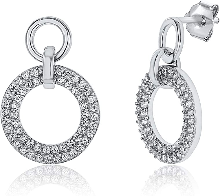 Montage Jewelry Women's Sterling Silver & Cubic Zirconia Elegant Circle Design Earrings