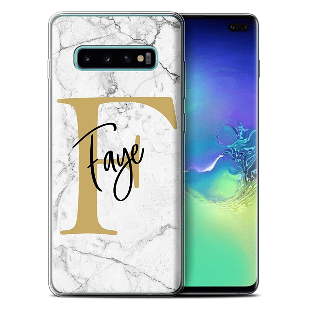 Personalized Custom Marble Initial Handwritten Gel/TPU Case for Samsung Galaxy S10 Plus/White Gold Letter Design/Initial/Name/Text DIY Cover