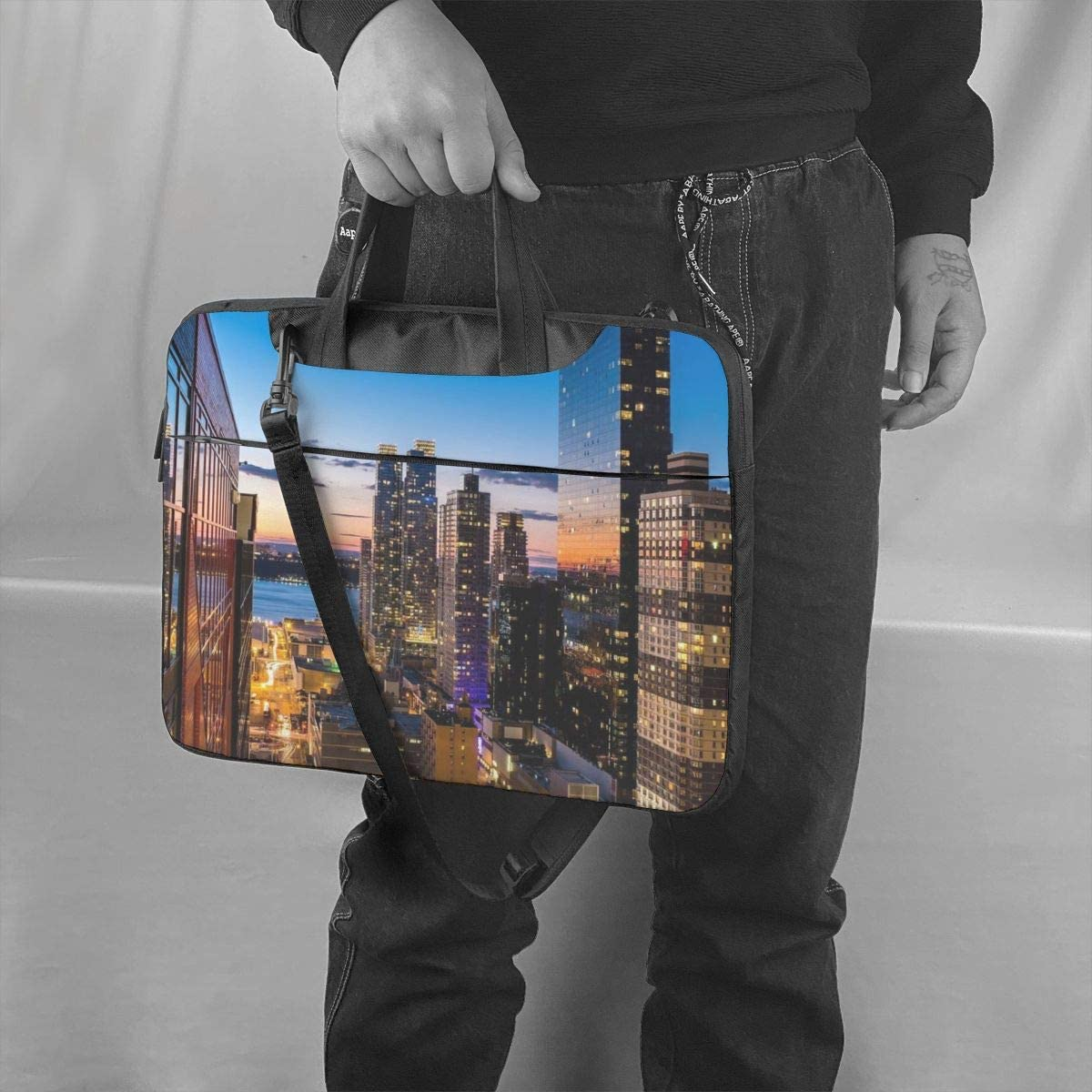 Shockproof Carrying Briefcase Sleeve with Organizer Pocket Waterproof Fabric Laptop Shoulder Bag New York City Notebook Sleeve Case Carrying Handle Compatible MacBook 15.6 Inch