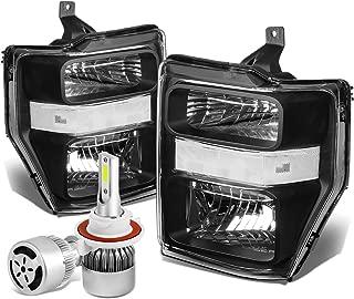 For Ford Super Duty 2nd Gen OE Style Black Housing Clear Corner Headlight + H13 LED Conversion Kit W/Fan