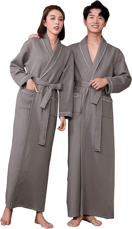 Women Men Lengthen Bathrobe, Cozy Large Size 100% Cotton Dressing Gowns, with Belt & Pockets V-Neck Kimono Robe for Home Spa Party Gift,Men Grey,XL