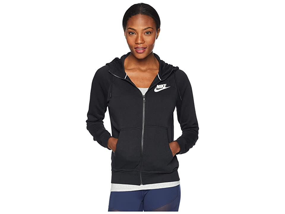 Nike Rally Hoodie Full Zip (Black/Black/White) Women
