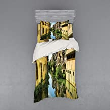 Lunarable Cityscape Bedding Set, City Canal San Massimo Runs Among Residential Houses in The Centre of Padua Veneto, 3 Piece Duvet Cover Set with Sham and Fitted Sheet, Twin Size, Green