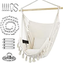 WBHome Hammock Chair Swing with Hardware Kit, Hanging Macrame Chair Cotton Canvas, Include Carry Bag & Two Soft Seat Cushi...