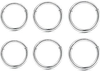 16-18G 3-6Pairs Stainless Steel Cartilage Earrings Sleeper Earrings Septum Clicker Nose Lip Ring Endless Earrings Body Piercing for Earring Lip Nipple Captive Hoop Ring Tragus Cartilage …