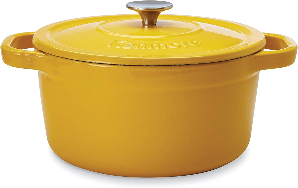 Kenmore 19247 5 5 Quart Cast Iron Enameled Coated Dutch Oven In Yellow