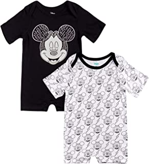 Disney Baby Boys' Mickey Mouse Short Sleeved Romper with Snap Closure (2 Pack)