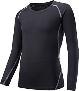 Boys'Long Sleeve Athletic T-Shirt Quick-Dry Active Sport Fitted Top Baselayer Girls Performance Tee Shirts