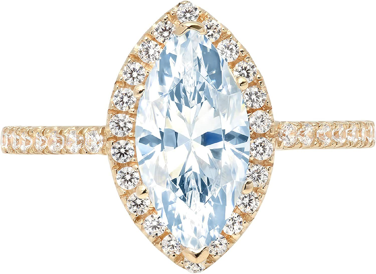 2.32ct Brilliant Marquise Cut Solitaire with Accent Halo Natural Sky Blue Topaz Gem Stone Ideal VVS1 Engagement Promise Statement Anniversary Bridal Wedding ring 14k Yellow Gold