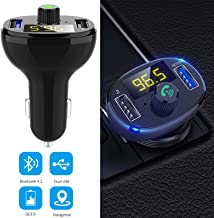 EEEKit Bluetooth FM Transmitter, Wireless in-Car Radio Transmitter, Universal QC 3.0 USB Charging Ports Car Charger, Hands Free Calling, TF Card Support, for Cellphone, Samsung and Other Smartphones