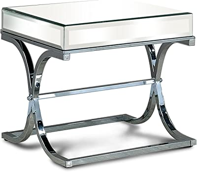 Furniture of America Luxy Mirror Panel End Table, Chrome