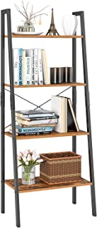 Homfa Ladder Shelf, 4 Tier Vintage Bookcase, Multipurpose Plant Flower Stand Bookshelf Storage Rack Shelves, Wood Look Accent Metal Frame Modern Furniture Home Office