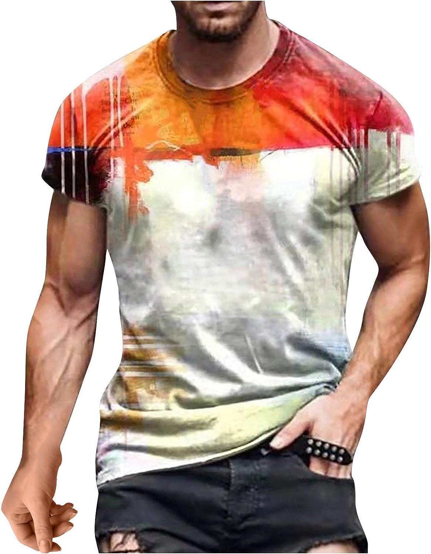 FUNEY Mens T-Shirts Fashion 3D Print Tie Dye Crewneck Short Sleeve Shirts Vintage Sun and Moon Graphics T-Shirts Tops Tees