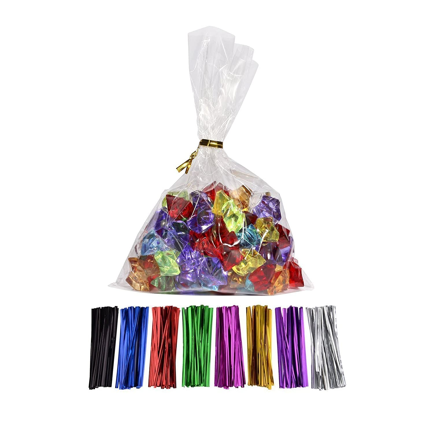 100 Pcs 10 in x 5 in(1.4mil.) Clear Flat Cello Cellophane Treat Bags Good for Bakery, Cookies, Candies,Dessert with random color Twist Ties!