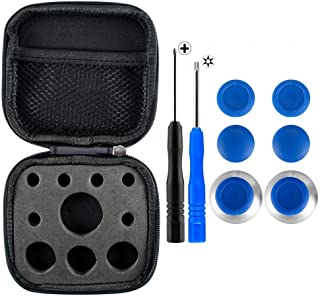 eXtremeRate 4 in 1 Metal Magnetic Thumbsticks Analogue Joysticks T8H Cross Screwdrivers Replacement Repair Kits with Storage Case for Xbox One S Elite PS4 Slim Pro Nintendo Switch Pro Controller Blue