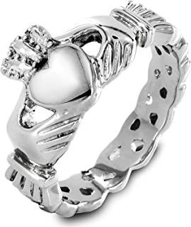 Stainless Steel Claddagh with Celtic Knot Promise Ring - Sizes 5-12