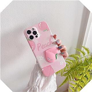 for iphone 11 12 Pro最大7 8 Plus SE 2020 x XR XS Maxカバーのためのソリッドピーチのかわいいマット電話ケース -QY243-2-For-for iphoneXS