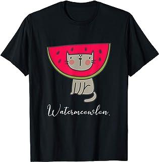 Funny Watermelon Cat Water Meow Lon Pun Gift Fruit Cat Lover T-Shirt