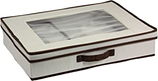Household Essentials Natural 545 Vision Box with Lid and Handles | Tabletop Linen Storage Set Canvas with Brown Trim