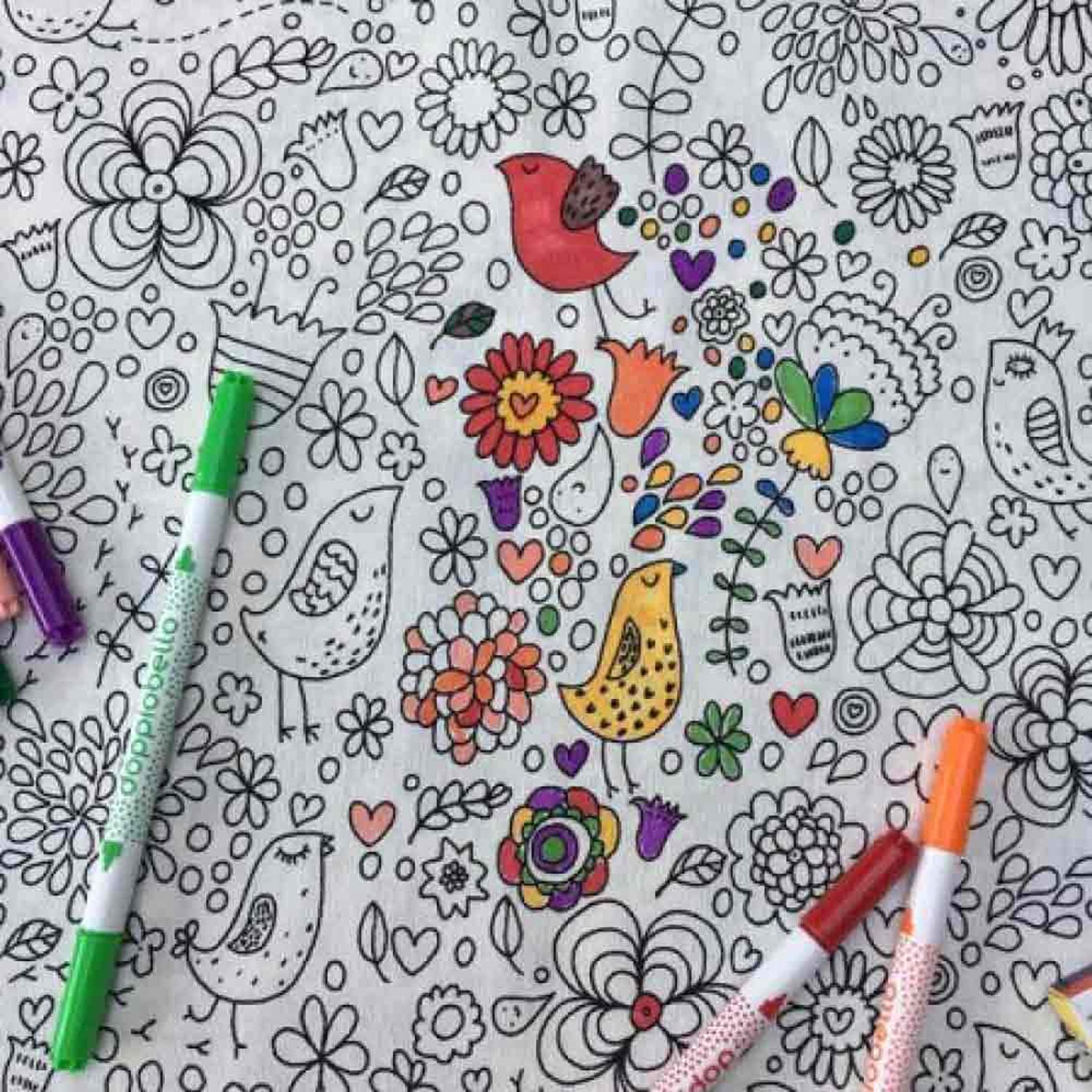 bluee Jigsaw Garden Doodle Tablecloth With WashOut Pens (154cm x 180cm)