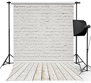 Kooer 6x9 FT Ivory White Brick Wall Photography Backdrops White Wooden Floor Photography Backgrounds Photo Studio Prop Baby Children Family Photoshoot Backdrop Customized Various Size