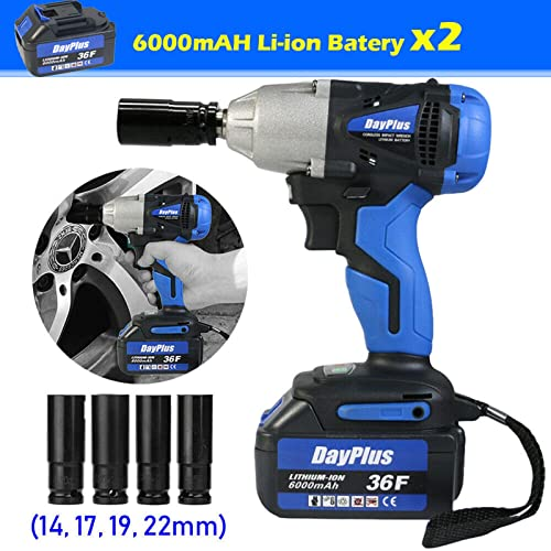 discount 1/2 Inch Cordless Impact Wrench Set 18V Electric Power Tool Kit with 2Pcs 6.0 AH new arrival Li-ion Batteries and Charger, Variable Speed 420Nm Torque, wholesale Includes 4Pcs Sockets and Storage Case for Home DIY Projects online sale