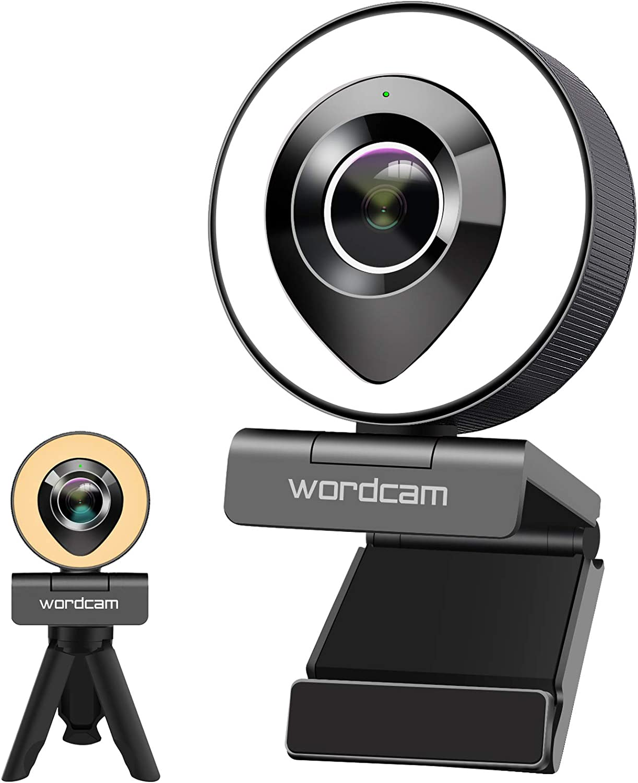 Wordcam Streaming Webcam 1080P con Microfono dual y Luz Anular, luz de dos Colores, Brillo Ajustable con Control táctil, cámara web para Zoom Skype Facetime, PC Mac Laptop Desktop