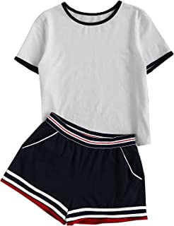 Women's Short Sleeve 2 Piece Outfit Round Neck Tee with Shorts Set