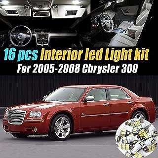 16Pc Super White 6000k Car Interior LED Light Bulb Kit Pack Compatible for 2005-2008 Chrysler 300
