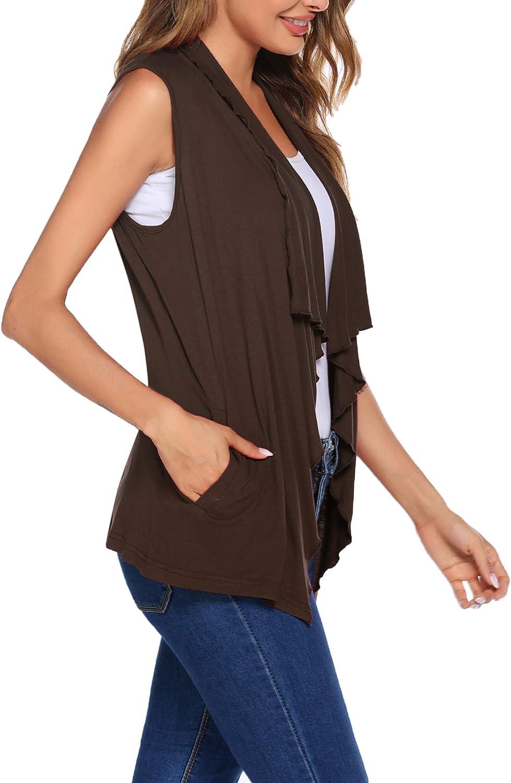 S-XXL Beyove Womens Sleeveless Cardigan Vests with Side Pockets Ruffle Tirm Draped Lightweight Lapel Open Front Vest