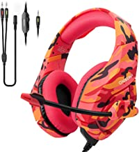 Gaming Headset for PS4,Xbox One,Nintendo Switch(Only Audio),ONIKUMA PC Stereo Noise Cancelling Over Ear Headphones with Mic, Compatible with Playstation 4,Laptop,Tablet,Smart Phone(Red Camo)